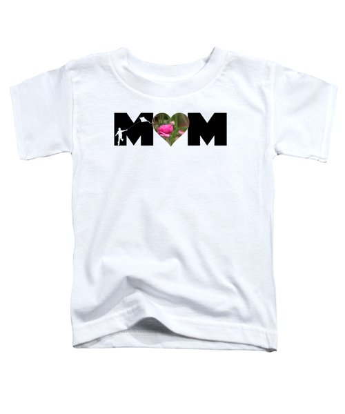 Boy Silhouette And Pink Ranunculus In Heart Mom Big Letter Toddler T-Shirt