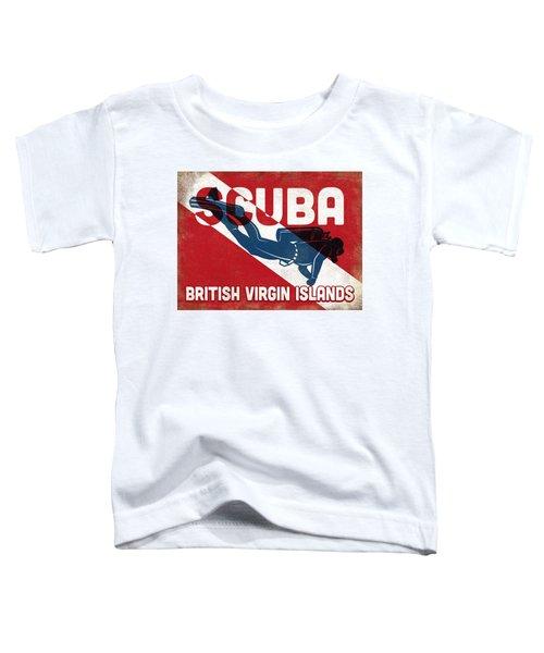 British Virgin Islands Scuba Diver - Blue Retro Toddler T-Shirt