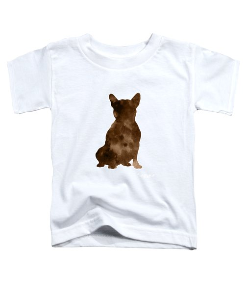 Brown Silhouette Of A Sitting Frenchie Toddler T-Shirt