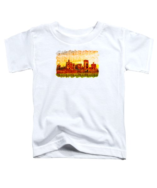Castle At Sunrise Watercolor Drawing  Toddler T-Shirt