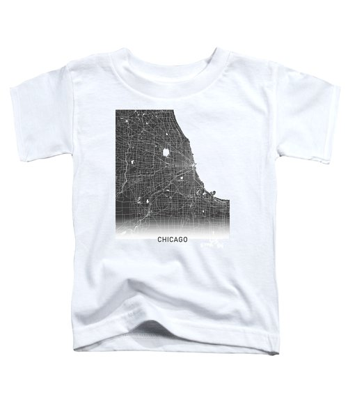 Chicago Map Black And White Toddler T-Shirt
