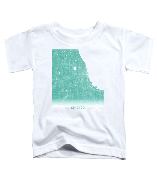 Chicago Map Teal Toddler T-Shirt