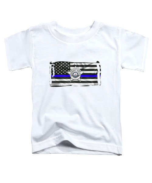 Chicago Police Department Badge -  C P D   Police Officer Star Over The Thin Blue Line Flag Toddler T-Shirt