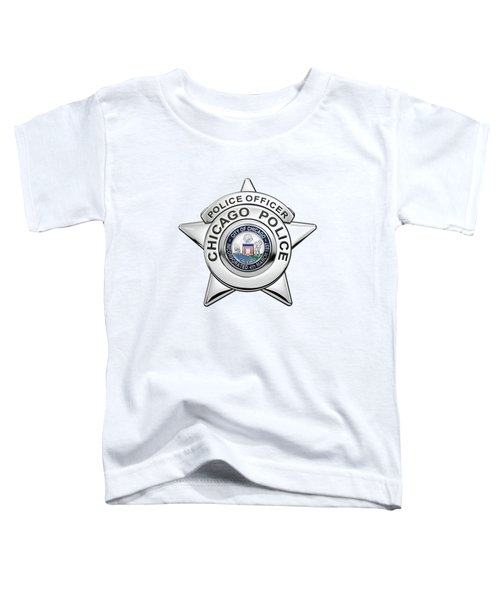Chicago Police Department Badge -  C P D   Police Officer Star Over White Leather Toddler T-Shirt