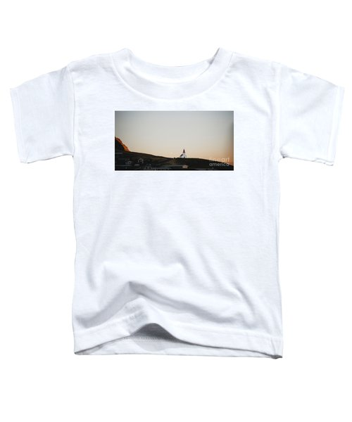 Church On Top Of A Hill And Under A Mountain, With The Moon In The Background. Toddler T-Shirt