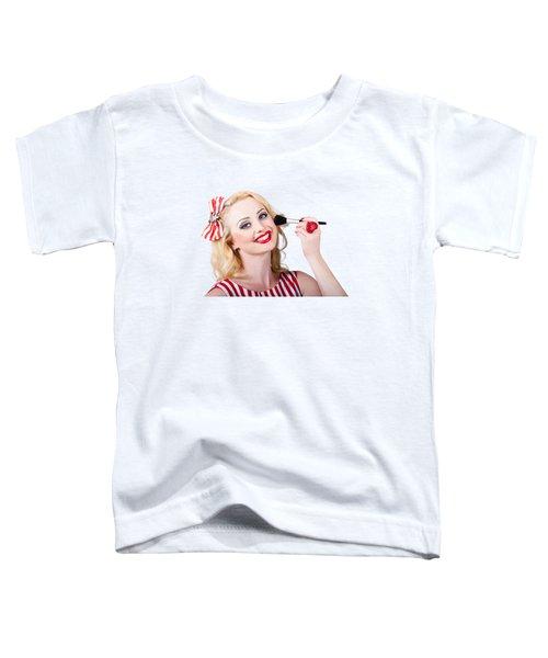 Cosmetics Pin-up Model Applying Blusher Makeup Toddler T-Shirt