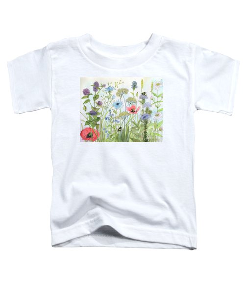 Cottage Flowers And Bees Toddler T-Shirt