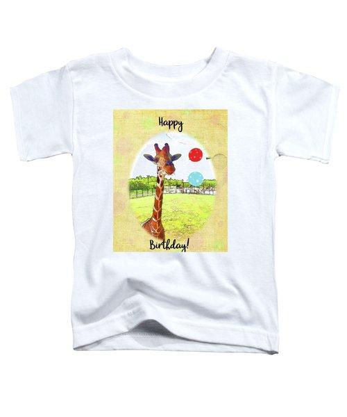 Cute Giraffe With Birthday Balloons Toddler T-Shirt