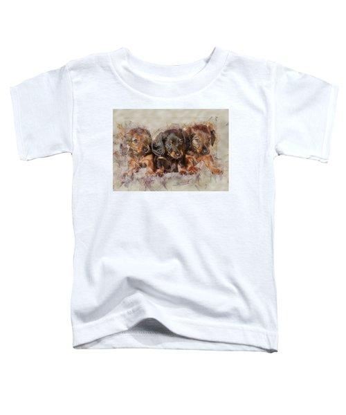 Dachshund Three Puppies Toddler T-Shirt