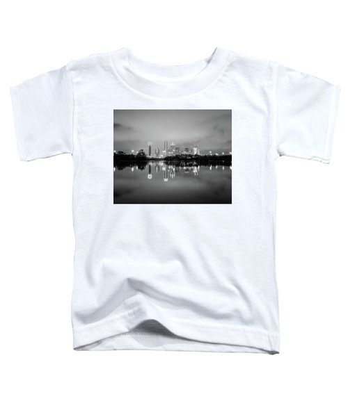 Dallas Cityscape Reflections Black And White Toddler T-Shirt