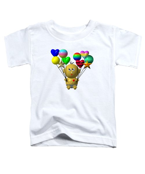 Dark Skinned Bouncing Baby Boy With 10 Balloons Toddler T-Shirt