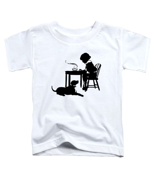 Dining With The Dog Silhouette Toddler T-Shirt
