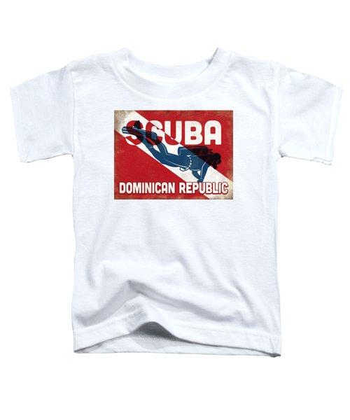 Dominican Republic Scuba Diver - Blue Retro Toddler T-Shirt