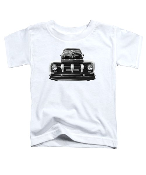 Early Fifties Ford V8 F-1 Truck In Black And White Toddler T-Shirt