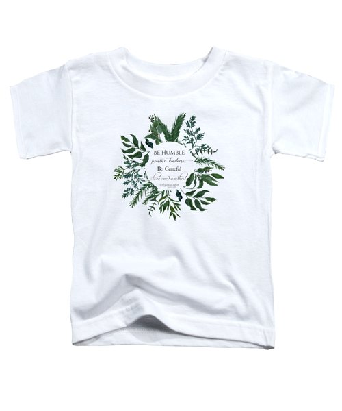 Emerald Wild Forest Foliage Watercolor Toddler T-Shirt