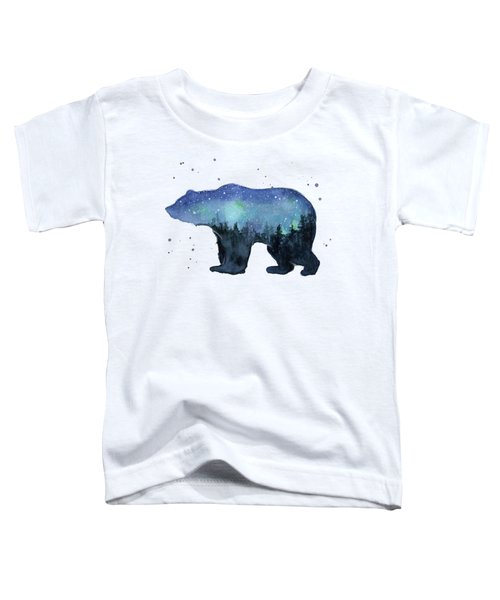 Forest Bear Watercolor Galaxy Toddler T-Shirt