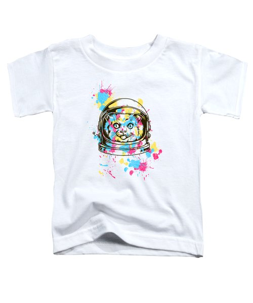 Funny Colorful Cat Astronaut Toddler T-Shirt