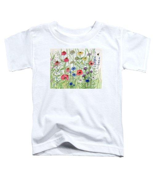 Garden Flower Medley Watercolor Toddler T-Shirt