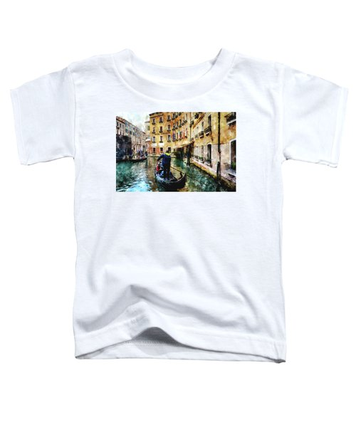 Gondola Traffic Near Piazza San Marco In Venice, Italy - Watercolor Effect Toddler T-Shirt