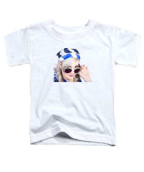 Graceful Pin Up Girl Looking Over Sunglasses Toddler T-Shirt