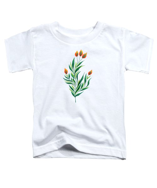 Green Plant With Orange Buds Toddler T-Shirt