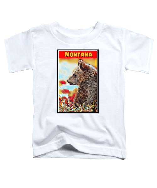 Grizzly Bear Art Montana Wildlife Travel Poster Toddler T-Shirt