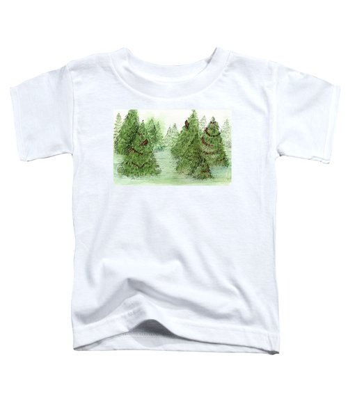 Holiday Trees Woodland Landscape Illustration Toddler T-Shirt