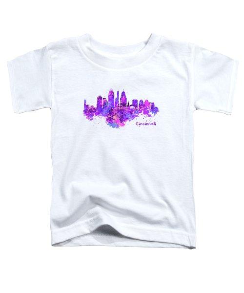 Horizontal Watercolor Skyline Of Cincinnati Toddler T-Shirt