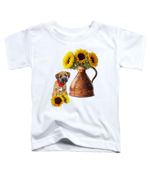 It Wasn't Me - Border Terrier Puppy With Sunflowers Toddler T-Shirt
