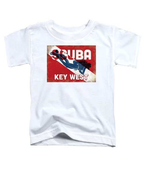 Key West Scuba Diver - Blue Retro Toddler T-Shirt
