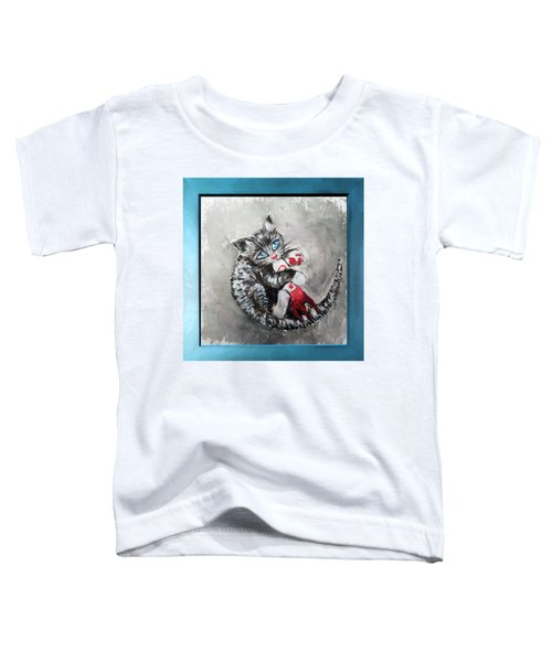 Kitten Playing With A Toy Rocket - Oil Panting - Fallout Fanart Toddler T-Shirt