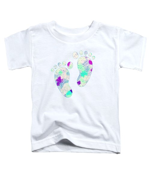 Little Feet Prints For Kids In Pinks And Blues Toddler T-Shirt