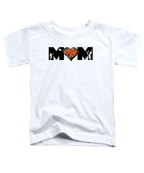 Little Girl And Boy Silhouette In Mom Big Letter With Cluster Of Red Roses In Heart Toddler T-Shirt