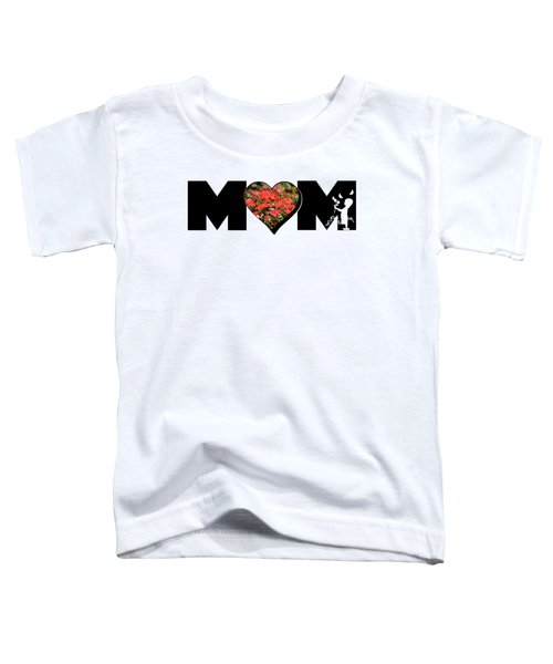 Little Girl Silhouette In Mom Big Letter With Cluster Of Red Roses In Heart Toddler T-Shirt