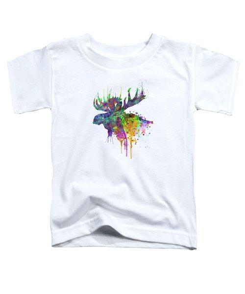Moose Head Watercolor Silhouette Toddler T-Shirt