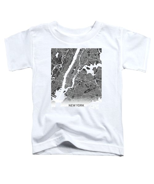 New York Map Black And White Toddler T-Shirt