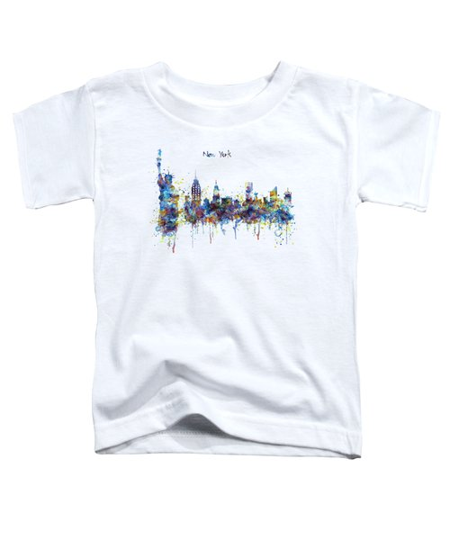 New York Watercolor Skyline Toddler T-Shirt