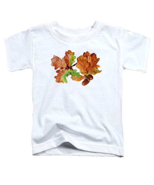Oak Leaves And Acorns On White Toddler T-Shirt