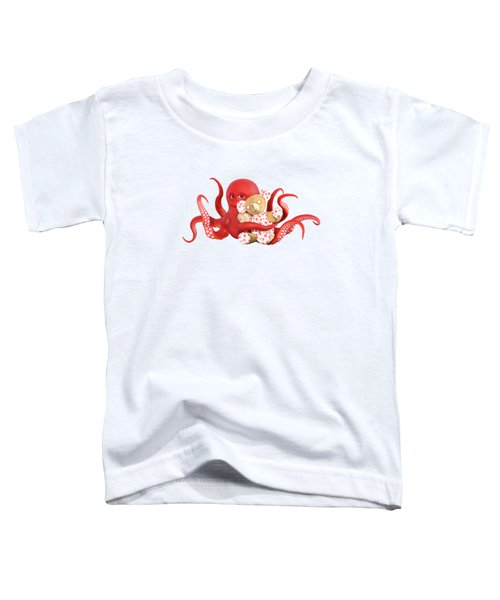 Octopus Red With Bear Toddler T-Shirt
