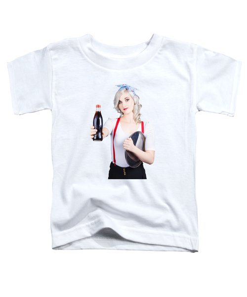 Pin-up Girl Holding Soft Drink Bottle Toddler T-Shirt