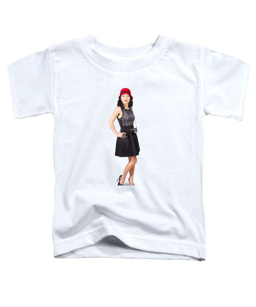 Pin Up Lady With Retro Film Camera Toddler T-Shirt