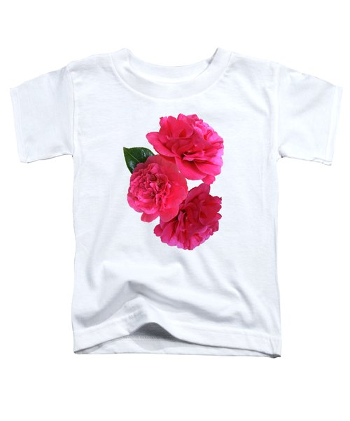 Pink Camellias On White Vertical Toddler T-Shirt