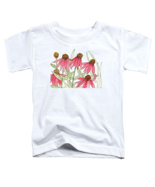 Pink Coneflowers Gather Watercolor Toddler T-Shirt