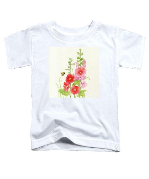 Pink Hollyhock Watercolor Toddler T-Shirt
