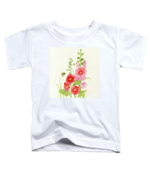Pink Hollyhock Watercolor Toddler T-Shirt