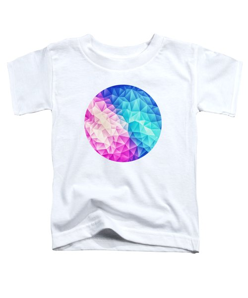 Pink Ice Blue  Abstract Polygon Crystal Cubism Low Poly Triangle Design Toddler T-Shirt