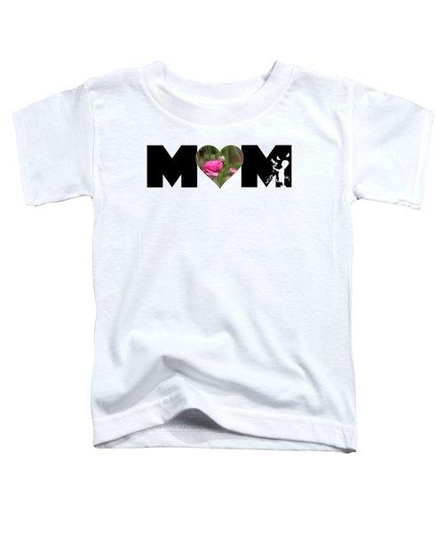 Pink Ranunculus In Heart Mom Big Letter-girls Toddler T-Shirt