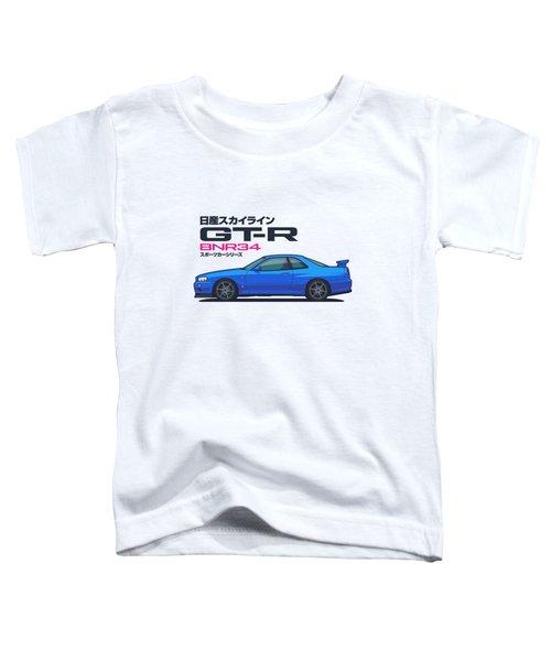 R34 Gt-r - Landscape Blue Toddler T-Shirt
