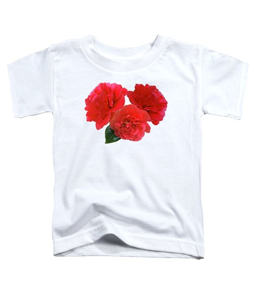 Red Camellias On White Toddler T-Shirt