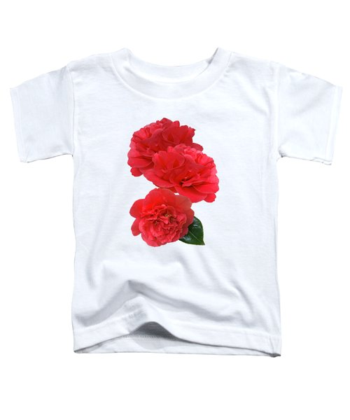 Red Camellias On White Vertical Toddler T-Shirt
